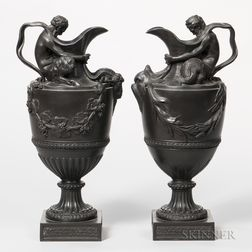 Pair of Wedgwood Black Basalt Wine and Water Ewers