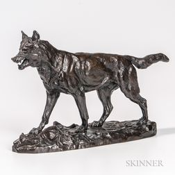After Antoine-Louis Barye (French, 1795-1875)       Bronze Figure of a Wolf