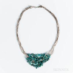 Contemporary Navajo Liquid Silver Necklace