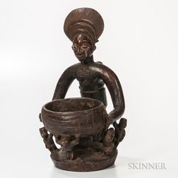 Yoruba-style Carved Wood Mother and Child with Vessel