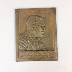 James Early Fraser (American, 1876-1953) Bas Relief Bronze Plaque of Theodore Roosevelt