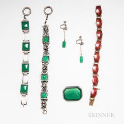 Group of Green Onyx Jewelry and a Gilt Sterling Silver and Enamel Bracelet