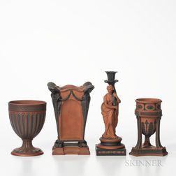 Four Wedgwood Rosso Antico Items