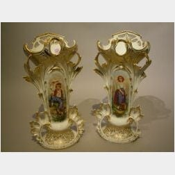 Pair of Paris Porcelain Portrait and Gilt Decorated Vases.