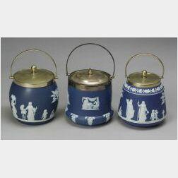 Three Wedgwood Dark Blue Jasper Dip Biscuit Jars and Covers