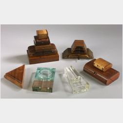 Ten Wooden Accessory Boxes and Two Glass Cigar Ashtrays
