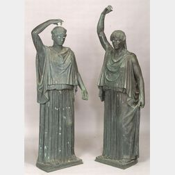 Pair of Bronze Patinated Classical Figures