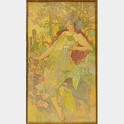 After Alphonse Mucha (Czech, 1860-1939)      The Seasons: Autumn
