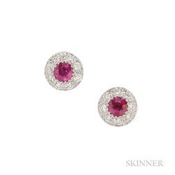 18kt White Gold, Ruby, and Diamond Earrings