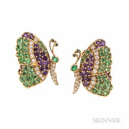18kt Gold Gem-set Earclips, Jean Vitou