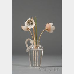 Russian Hardstone, Rock Crystal, and Yellow Gold Model of Vase of Flowers