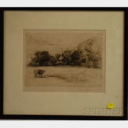Sir Francis Seymour Haden (British, 1818-1910)      Single Cow in Meadow