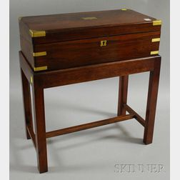 British Brass-mounted Rosewood Lap Desk on Mahogany Stand