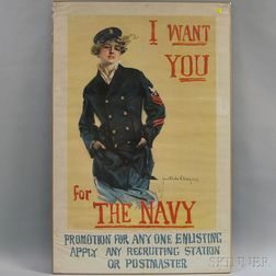 Howard Chandler Christy I Want You for the Navy   WWI Lithograph Poster