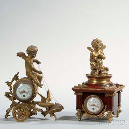 Two French Miniature Boudoir Clocks