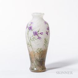 Daum Nancy Enameled Cameo Vase