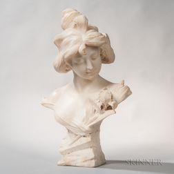 Alabaster Bust of an Art Nouveau-style Maiden