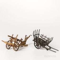 Two Miniature Metal Horse-drawn Farming Tools