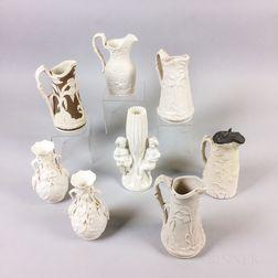 Eight Bennington Parian Vases and Jugs