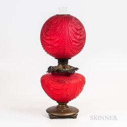 Victorian Red Cased Glass and Brass Fluid Lamp