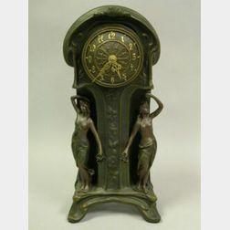Art Nouveau Patinated Metal Mantel Clock.