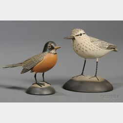 Two Carved and Painted Miniature Bird Figures