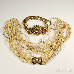 Antique Pearl Necklace and Bracelet