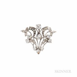 14kt White Gold and Diamond Brooch/Pendant