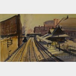 Charles Peter Demetropoulos  (Greek/American, 1912-1976)      View of Trinity Place Railroad Station, Back Bay, Boston, c.1950s