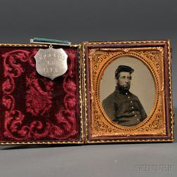 Sixth-plate Tintype Portrait of a Union Soldier with Service Medal
