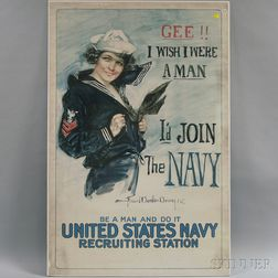 Howard Chandler Christy Gee!! I Wish I Were a Man - I'd Join the Navy   WWI   Lithograph Poster