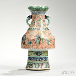 Enameled White Porcelain Stem Vase