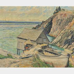 Elizabeth B. Robb (American, 1864-1939)      Cliffside Boathouse