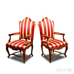 Pair of Louis XV-style Carved Walnut Upholstered Fauteuil