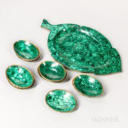 Thirteen-piece Malachite and Bronze Nut Set