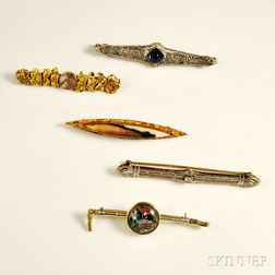 Five Bar Brooches