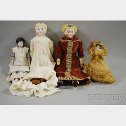Four Parian and China Head Dolls