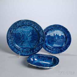 Three Staffordshire Historical Blue Transfer-decorated La Grange, The Residence of the Marquis Lafayette, Table Items