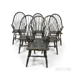 Six Modern Black-painted Continuous Arm Windsor Dining Chairs