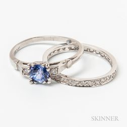 Platinum, Tanzanite, and Diamond Ring and a 14kt White Gold and Diamond Eternity Band
