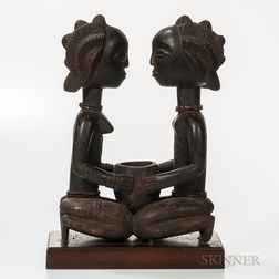 Baule-style Carved Wood Figure of a Kneeling Couple