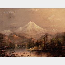 Eliza Rosanna Lamb Barchus (American, 1857-1959)      Mt. Hood, Oregon, Sunset