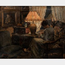 Carl Hornung-Jensen (Danish, 1882-1960)      Woman Sewing by Lamplight in an Interior