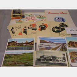 Collection of 1930s-1940s 20th Century Fox Studios Business Convention Railroad and Hotel Menus, Postcards, Card Game Booklets, and Pla