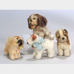 Four Small Mohair Steiff Pups