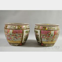 Pair of Modern Chinese Export Rose Mandarin Porcelain Fishbowls