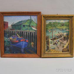 Two Dock Views:      Alan Horton Crane (American, 1901-1969), Gloucester Harbor