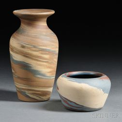Two Niloak Missionware Clay Vases