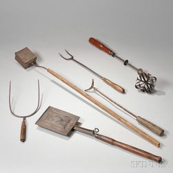 Group of Tin, Iron, and Wood Kitchen Implements