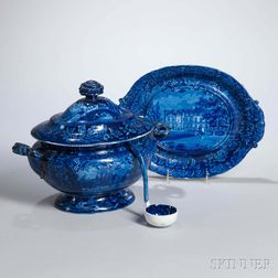 Staffordshire Historical Blue Transfer-decorated La Grange, The Residence of the Marquis Lafayette Tureen